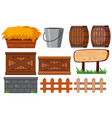 gardening set with fences and hay vector image