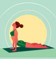 girl lies in yoga cobra pose or bhujangasana vector image vector image