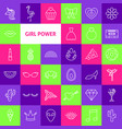 Girl power line icons