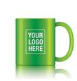 green coffee mug vector image vector image
