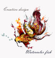 hand drawn goldfish in watercolor style from ink vector image