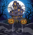 Happy halloween cozy haunted house behind a wall vector | Price: 5 Credits (USD $5)