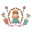 hippie girl cartoon vector image