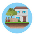 house with fence tree garden vector image vector image