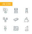 interior icons line style set with barstool house vector image vector image