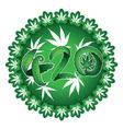 Marijuana symbolic 420 text design green sticker vector image vector image