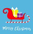 merry christmas santa claus sleigh sled icon vector image