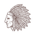 native indian chief sketch feathers headdress vector image vector image