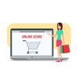 Online shopping girl Business cartoon concept vector image vector image