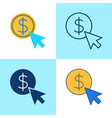 pay per click icon set in flat and line style vector image vector image