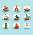pirate cartoon ships set play corsair schooners vector image