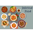 Portuguese cuisine lunch with pie dessert icon vector image vector image