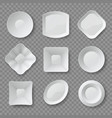realistic dishes 3d white empty food plates vector image