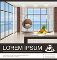 realistic living room interior poster vector image vector image