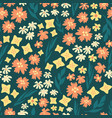 seamless repeat scattered flowers pattern vector image vector image