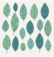 set doodle isolated vintage leaves doodle vector image