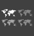 set of blank world maps on black background vector image