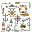 set of color images on a marine theme vector image