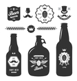 set vintage craft beer bottles brewery badges vector image vector image