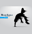 silhouette of a break dancer vector image vector image