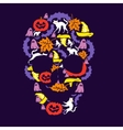 skull of the day of halloween vector image vector image