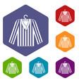 striped pajama shirt icons set hexagon vector image vector image