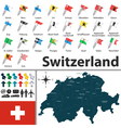 Switzerland map with flags vector image vector image