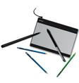 tablet pencils vector image vector image