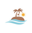 travel logo design beach sun wave summer vector image