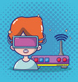 virtual reality headset cartoon vector image vector image