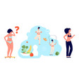weight loss process diet plump girl weighed on vector image