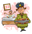 woman in military uniform with a tray of food vector image vector image