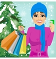 woman shopping on christmas winter day vector image vector image