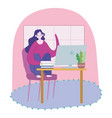 working remotely woman sitting on chair vector image