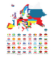 world map and flags vector image vector image