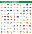 100 vacation icons set cartoon style vector image