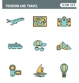 Icons line set premium quality of tourism travel vector image