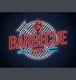 barbecue grill neon logo bbq neon sign on wall vector image vector image