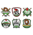 baseball league sport club and team badge icons vector image