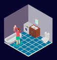 bathroom is isometric with a woman and a child vector image vector image