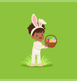 beautiful little girl with bunny ears and rabbit vector image vector image