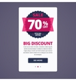 Big discount card with 70 percent off stamp vector image vector image