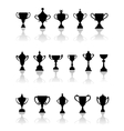 Black silhouette trophy icons vector image