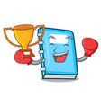 Boxing winner education mascot cartoon style