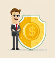 businessman protecting with shield vector image