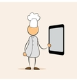 cartoon chef with menu tablet vector image