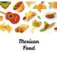 cartoon mexican food background vector image vector image
