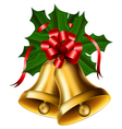 christmas bells with red bow vector image vector image
