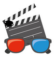 color clipart and 3d glasses icon vector image vector image
