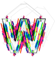 Colorful Font Letter W vector image vector image